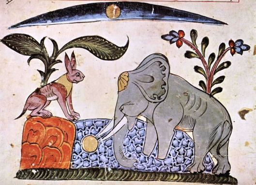 An illustration from a Syrian edition dated 1354. The rabbit fools the elephant king by showing him the reflection of the moon.