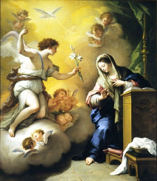 Annunciation by Paolo de Matteis, 1712. The white lily in the angel's hand is symbolic of Mary's purity in Marian art.
