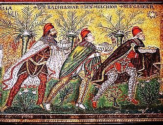 "Basilica of Sant'Apollinare Nuovo in Ravenna, Italy: The Three Wise Men"" (named Balthasar, Melchior, and Gaspar). Detail from: ""Mary and Child, surrounded by angels"", mosaic of a Ravennate italian-byzantine workshop, completed within 526 AD by the so-called ""Master of Sant'Apollinare"". (Photo credit: Wikipedia)"