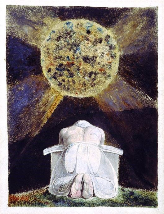 The archetype of the Creator is a familiar image in Blake's work. Here, the demiurgic figure Urizen prays before the world he has forged. The Song of Los is the third in a series of illuminated books painted by Blake and his wife, collectively known as the Continental Prophecies