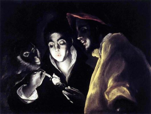 Allegory, Boy Lighting Candle in Company of Ape and Fool by El Greco
