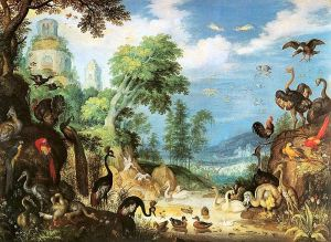 Landscape with Birds showing a Dodo in the lower right, by Roelant Savery, 1628