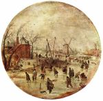 Winter Landscape with Skaters, by  Henrick Avercamp