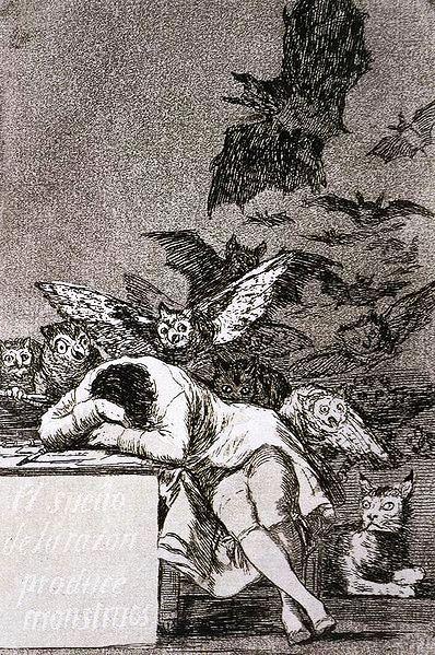 Francisco de Goya, The Sleep of Reason Produces Monsters (El sueño de la razón produce monstruos), c. 1797