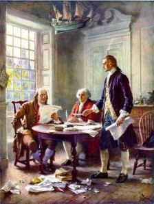 This idealized depiction of (left to right) Franklin, Adams, and Jefferson working on the Declaration (Jean Leon Gerome Ferris, 1900) was widely reprinted.