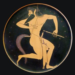 Satyr with pipe and a pipe case (Attic red-figure plate, 520–500 BC, from Vulci, Etruria