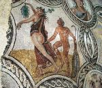 Satyr pursuing a nymph, on a Roman mosaic