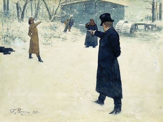 A fictional pistol duel between Eugene Onegin and Vladimir Lensky