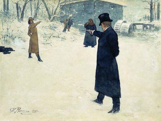 A fictional pistol duel between Eugene Onegin and Vladimir Lensky
