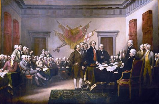 Trumbull's Declaration of Independence depicts committee presenting draft Declaration of Independence to Congress. Adams at center has hand on hip.