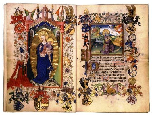 Opening from the Hours of Catherine of Cleves, c. 1440, with Catherine kneeling before the Virgin and Child, surrounded by her family heraldry. Opposite is the start of Matins in the Little Office, illustrated by the Annunciation to Joachim, as the start of a long cycle of the Life of the Virgin