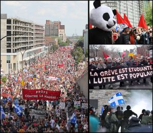 uly 22 (left), May 22 (up) and April 15 (center) demonstrations and Victoriaville riots (down).