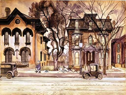 —Promenade, 1927-1928, by Charles E. Burchfield (1893-1967) Watercolor on paper, sheet: 31 5/8 x 42 1/2