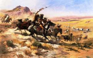 Attack on a Wagon Train, by Charles Marion Russell