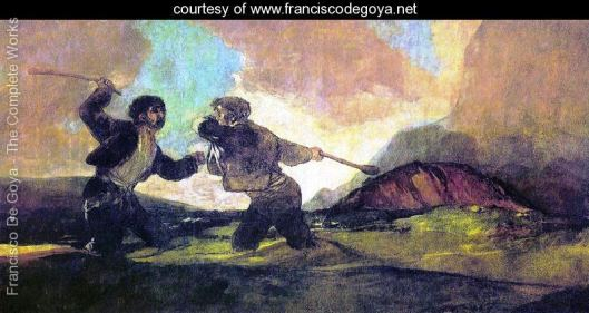 Duel with Cudgels, by Francisco Goya