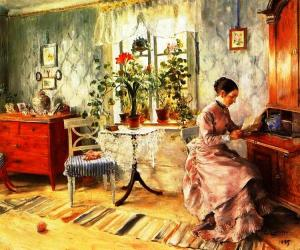 An interior with a Woman, by Carl Larrson