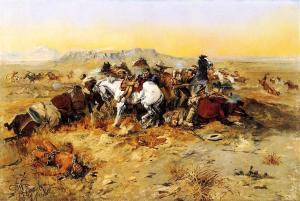 A Desperate Stand, by Charles Marion Russell