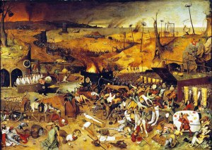 Pieter Bruegel's The Triumph of Death (c. 1562) reflects the social upheaval and terror that followed the plague which devastated medieval Europe