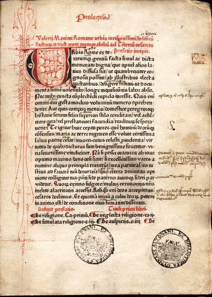 "Page from Valerius Maximus, Facta et dicta memorabilia, printed in red and black by Peter Schöffer (Mainz, 1471). The page exhibits a rubricated initial letter ""U"" and decorations, marginalia, and ownership stamps of the ""Bibliotheca Gymnasii Altonani"" (Hamburg)."