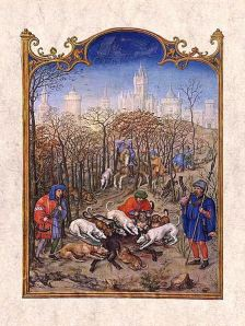 Miniature depicting the month December, from the Grimani Breviary, illuminated by Gerard Horenbout with Alexander and Simon Bening