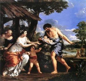 Romulus and Remus being given shelter by Faustulus, oil by Pietro da Cortona.