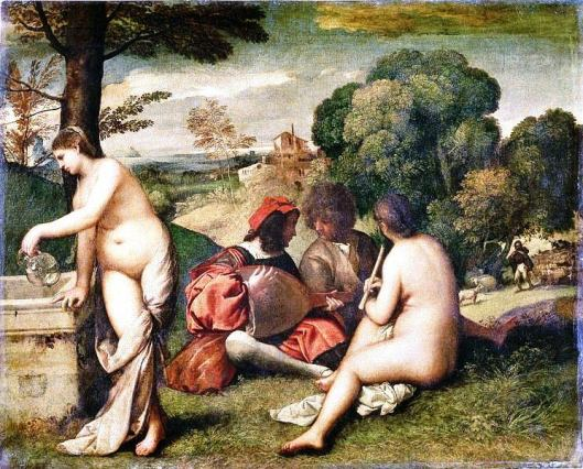 Giorgione, Pastoral Concert. Louvre, Paris. A work which the Louvre now attributes to Titian, c. 1509.[9]