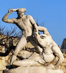 Theseus fighting the Minotaur by Jean-Etienne Ramey, marble, 1826, Tuileries Gardens, Paris