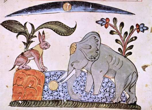 An illustration from a Syrian edition dated 1354. The rabbit fools the elephant king by showing him the reflection of the moon