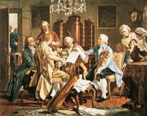 Joseph Haydn conducting a string quartet in Vienna