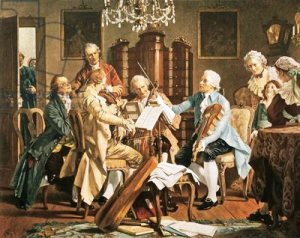 Joseph Haydn conducting a string quartet in Vienna