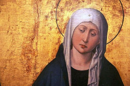 Archetypal Gothic Lady of Sorrows from a triptych by the Master of the Stauffenberg Altarpiece, Alsace c. 1455