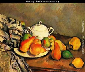 Sugarbowl, Pears and Tablecloth