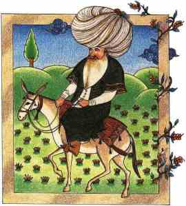 A 17th century miniature of Nasreddin, currently in the Topkapi Palace Museum Library