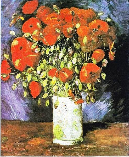 Vase mit rotem Klatschmohn, by Vincent Van Gogh