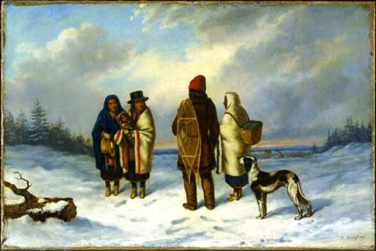 Indians at Snowy Landscape, by Cornelius Krieghoff, c. 1847-1848 (The National Gallery of Canada)