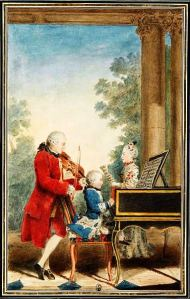Carmontelle's watercolour (1763) of Leopold Mozart with Wolfgang Amadeus and Maria Anna is among his best-known works.