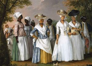 Free Women of Color with their Children and Servants, oil painting by Agostino Brunias, Dominica, c.1764-1796