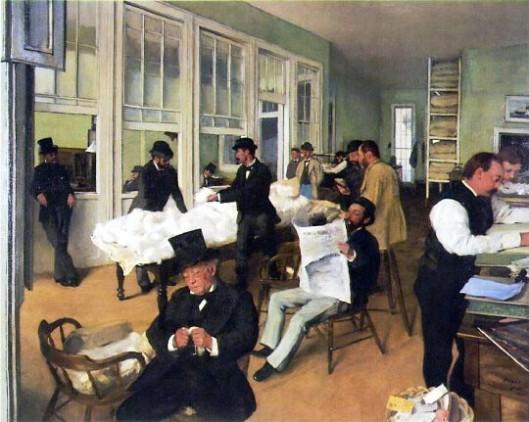 The Cotton Exchange, by Edgar Degas, 1873