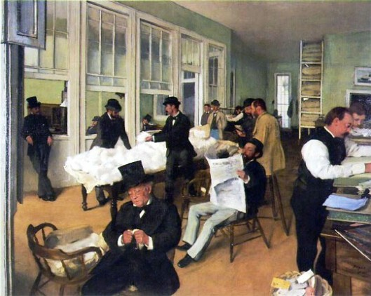 The Cotton Exchange, by Edgar Degas, 1873