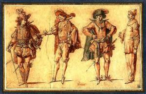 Four Gentlemen and Pierrot, by Claude Gillot (Wikimedia)