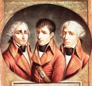 A portrait of the three Consuls, Jean-Jacques- Régis de Cambacérès, Napoleon Bonaparte and Charles-François Lebrun (left to right).