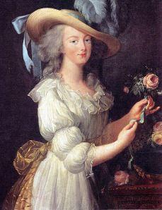 """Marie Antoinette en chemise, portrait of the queen in a """"muslin"""" dress, by Louise Élisabeth Vigée Le Brun (1783)."""