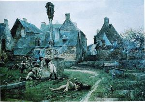 The Defence of Rochefort-en-Terre, painting by Alexandre Bloch, 1885