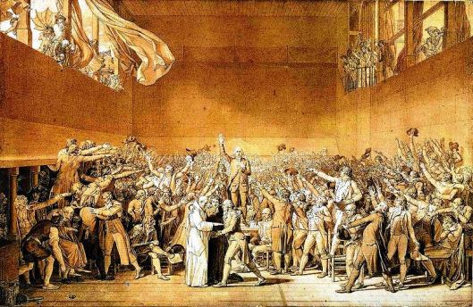 The National Assembly taking the Tennis Court Oath (sketch by Jacques-Louis David). (Photo credit: Wikipedia)