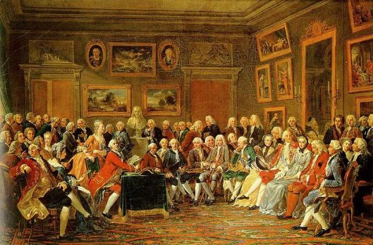Madame Geoffrin`s salon in 1755 by Anicet Charles Gabriel Lemonnier. Oil on canvas, Château de Malmaison, Rueil -Malmaison