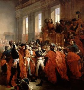 General Bonaparte during the coup d'état of 18 Brumaire in Saint-Cloud, painting by François Bouchot, 1840