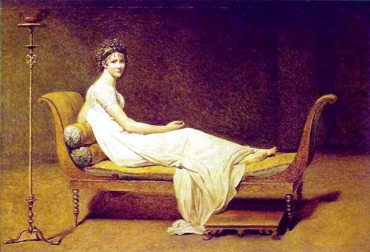 Madame Récamier, Jacques-Louis David, 1800 (Louvres) Photo credit: Wikipedia   Dimensions   174 cm × 224 cm (68.50 in × 88.58 in)   Location   Louvre, Paris