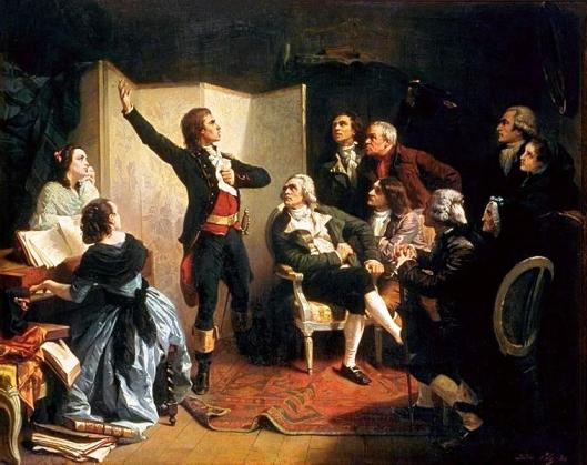Rouget de Lisle singing  La Marseillaise for the first time, at the Townhall in Strasbourg or at Dietrich's home.