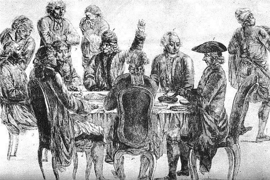 At Café Procope: at rear, from left to right: Condorcet, La Harpe, Voltaire (with his arm raised) and Diderot