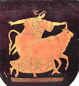 Europa and the Bull - Red-Figure Pottery, Stamnos, Tarquinia Museum, circa 480 BCE (Photo Credit: Wikipedia)